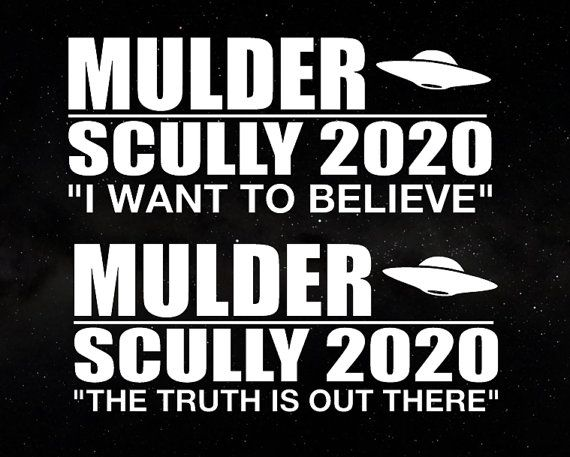X files mulder scully 2020 campaign election president decal car window decal sticker