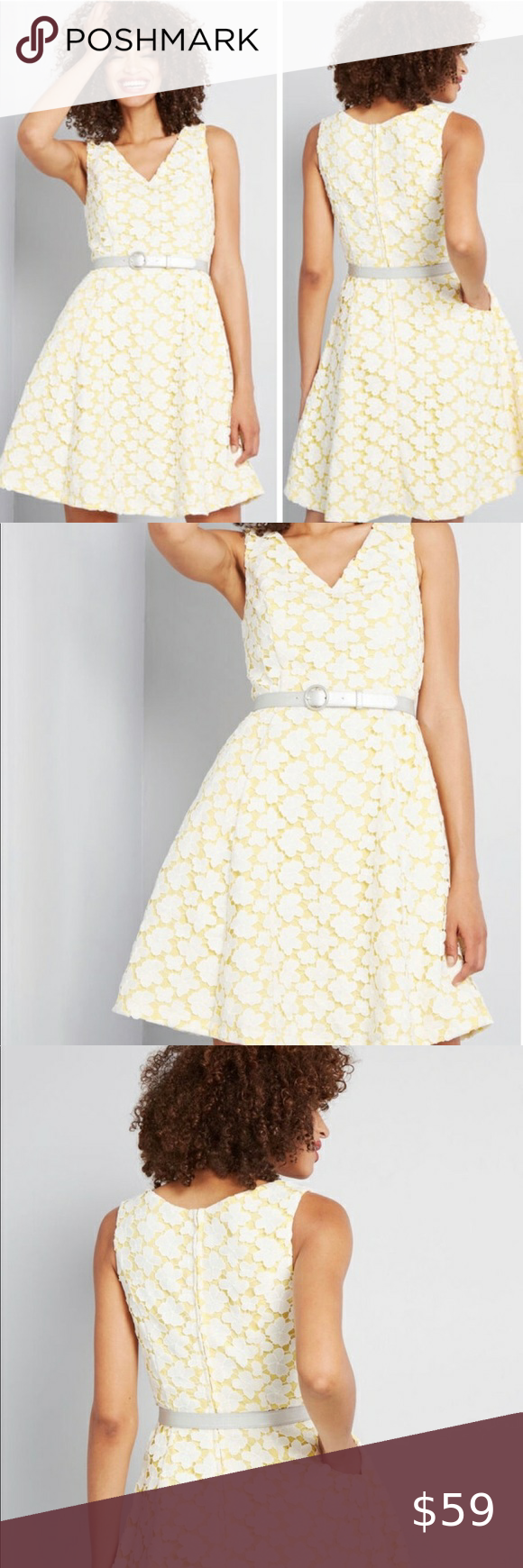 Modcloth Yellow Lace Dress Yellow Lace Dresses Fit And Flare Dress Flare Dress [ 1740 x 580 Pixel ]