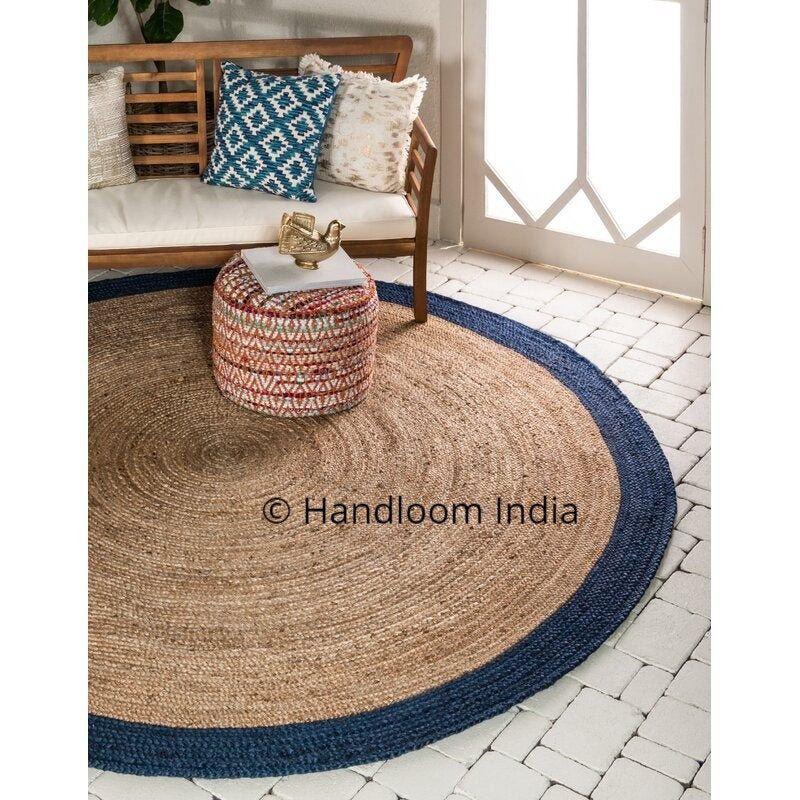 Eco Friendly Natural Jute Braided Round Rugs Organic Jute Round Area Carpets 5 Feet Jute Door Mats Jute Rug Living Room Jute Round Rug Circular Rugs