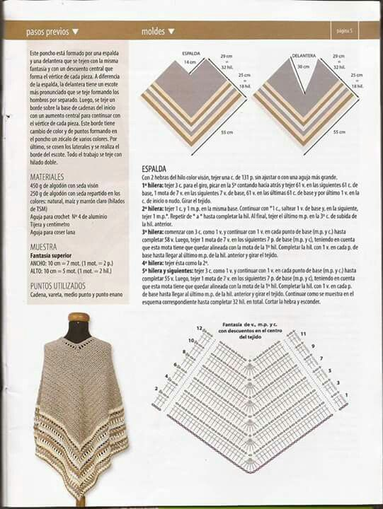Ponczo | chusta | Crochet poncho, Crochet y Crochet Shawl