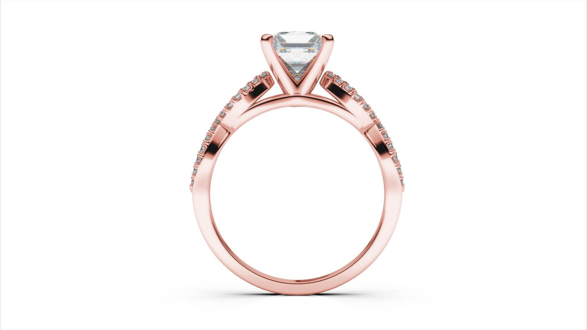 Zlatý zásnubný prsteň TALA z ružového zlata 14 karátové briliant princezná  solitaire s postrannými diamantmi adad43fe60b