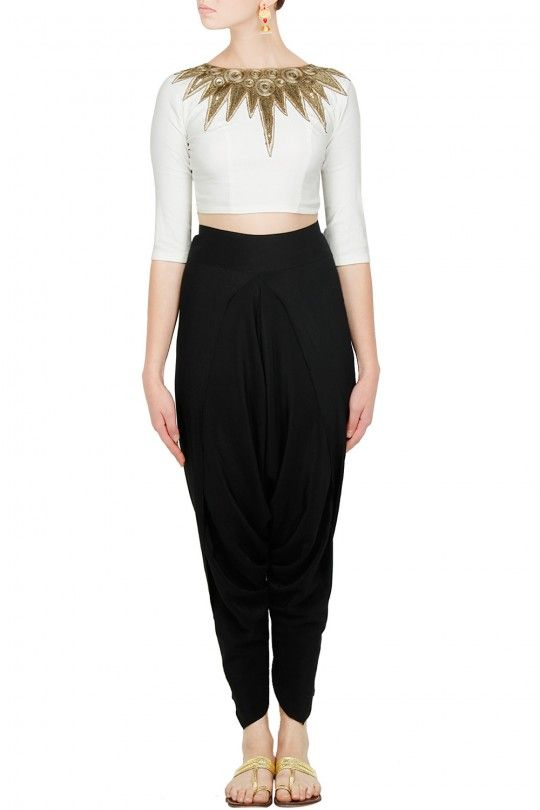 fe4693925 Black dhoti pants with white and gold embroidered crop top | Women's ...