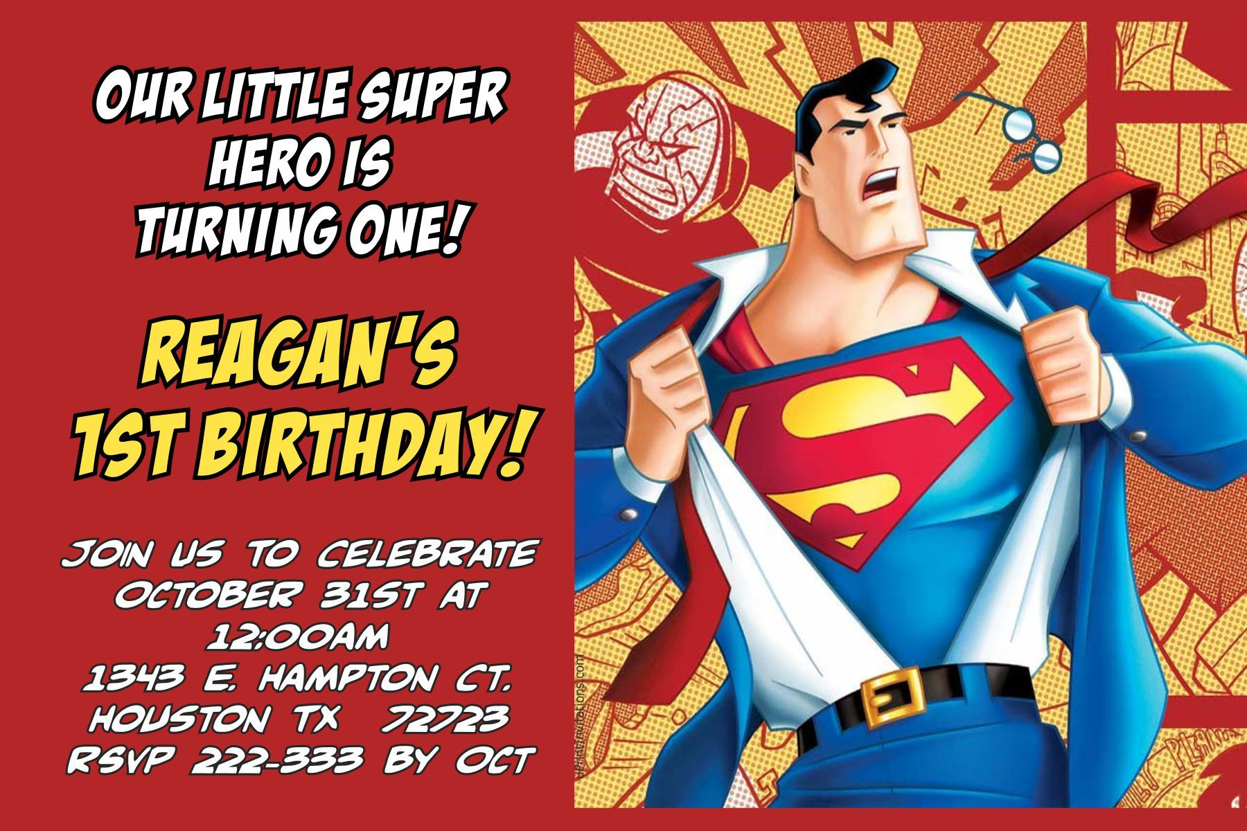 Superman ic Book Birthday Invitations Digital Download Get