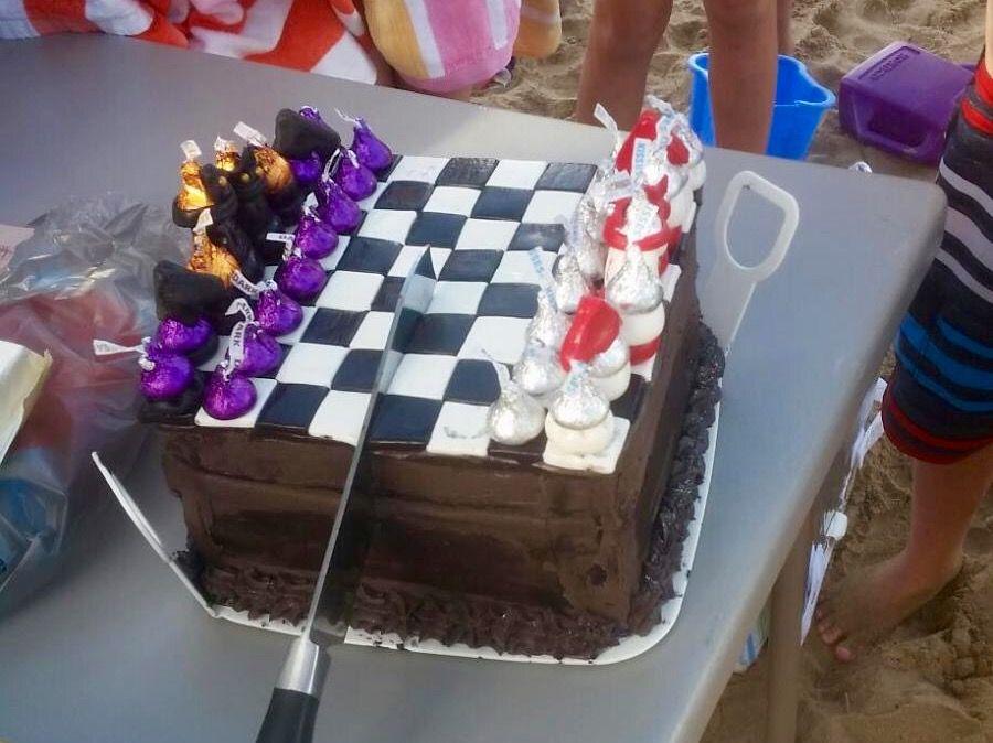 Chess birthday cake.
