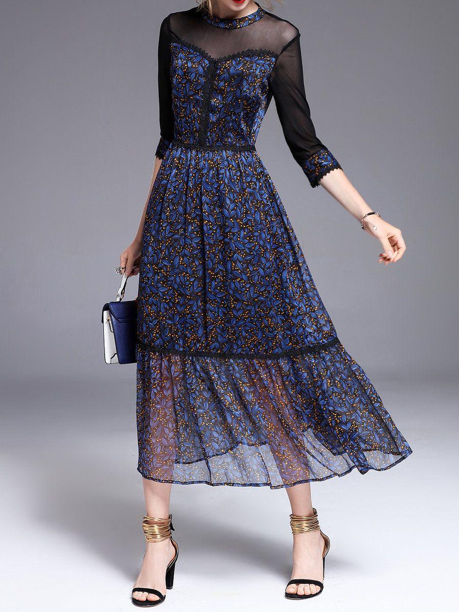 Floral polyester elegant sleeve seethrough look maxi dress