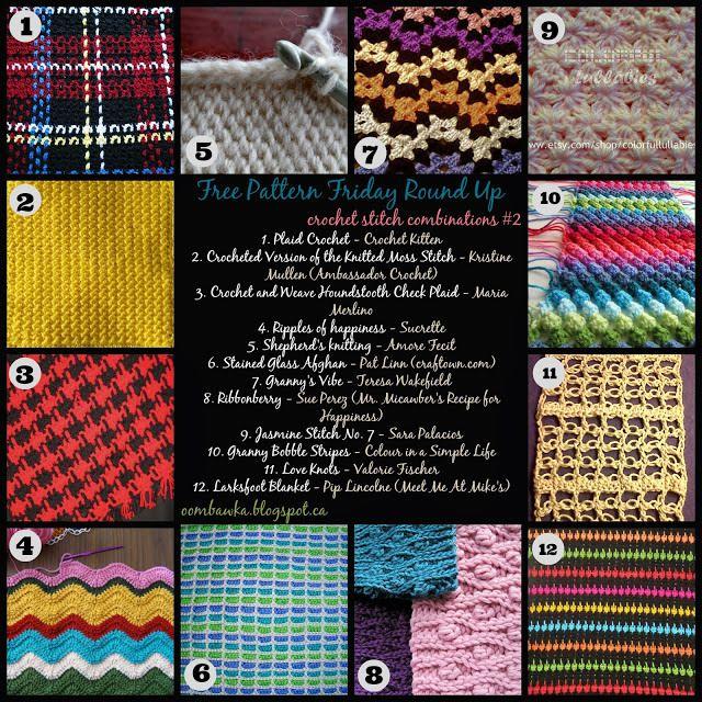 Crochet Stitch Combinations   Crochet stitches, Free pattern and Stitch