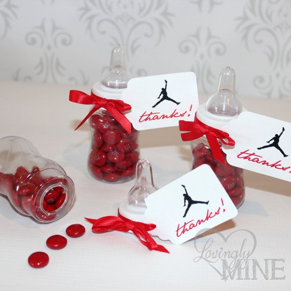 Baby Shower Favors   Plastic Baby Bottles   12 Per Set   Red Basketball  Sneaker Favors   Closeout Sale Original Price 15.99