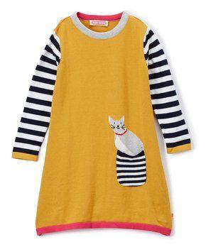 359910dac Mustard Stripe Cat Pocket Sweater Dress - Infant