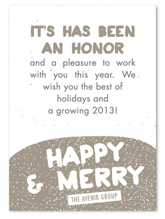 Corporate Holiday Cards On Seeded Paper Winter Sprinkles By