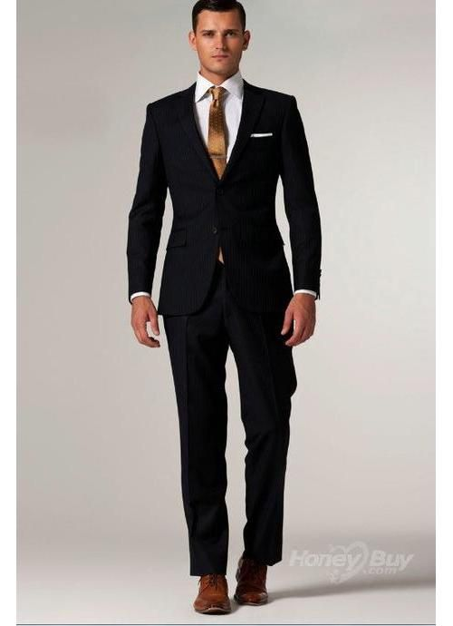 black fashion designers | Amazing Black Superior Business Wool Italy Two  Buttons Notch Lapel Two .