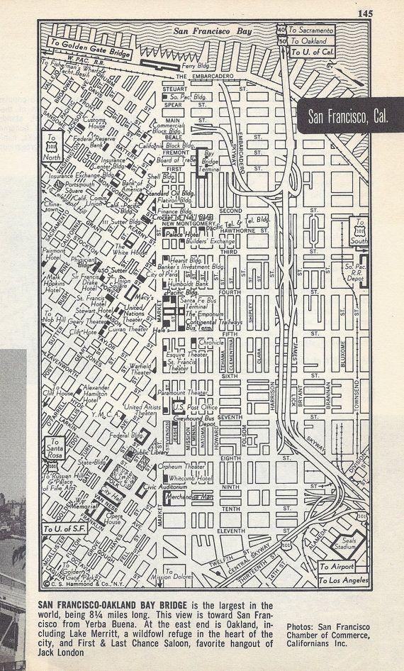 Gorgeous vintage street map of 1950s San Francisco California