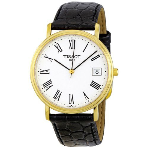 Tissot Men's T52542113 T-Classic Desire Leather Watch  Gold PVD stainless steel case with a black leather strap. Fixed gold PVD bezel. White dial with black hands and Roman numerals hour markers. Minute markers around the outer rim. Dial Type: Analog. Date display at the 3 o'clock position. Quartz movement. Scratch resistant sapphire crystal. Push / pull crown. Solid case back. Case diameter: 34 mm. Case thickness: 6 mm. Tang clasp. Water resistant at 30 meters / 100 feet. Casual wat..