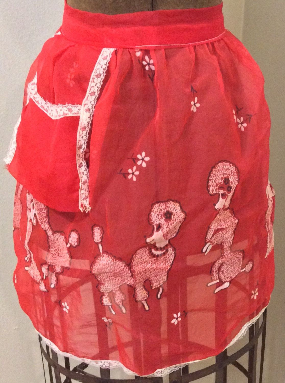 White half apron vintage - Vintage Apron Chiffon Red White Poodle With Pocket Hostess Half Apron Style Sheer Lace Trim