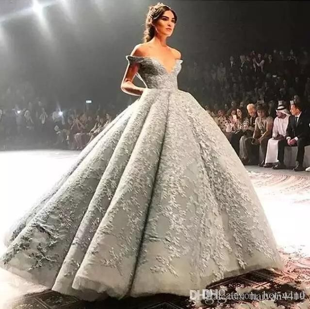 Elegant silver dubai arabic luxury off the shoulder formal evening gowns  full lace sequins ball gown 98e8500d4486