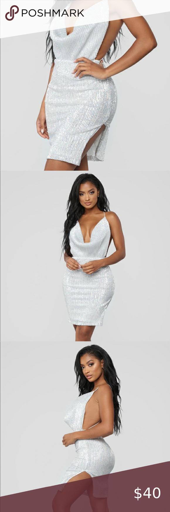 Silver Sequin Mini Dress XL in 2020 Sequin mini dress