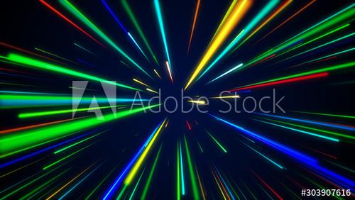 Colorful High Speed Light Streaks Shining Brightly Against Blue Dark Background Design Buy This Stock I Dark Backgrounds Background Design Stock Illustration