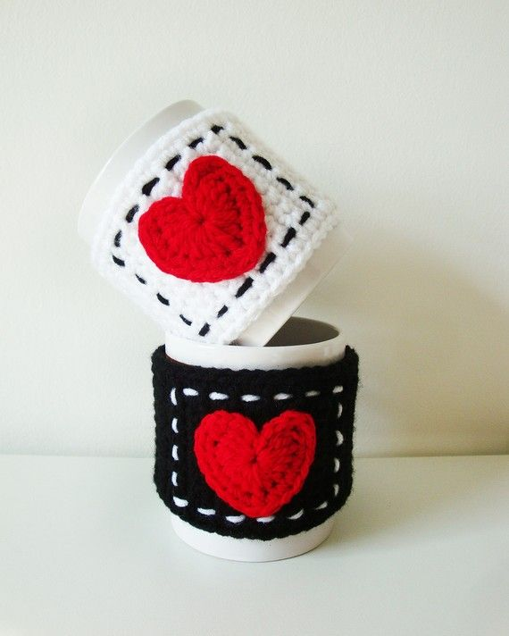 Symbols Crochet PATTERN - PDF format - Mug Cozy with Heart - Instant ...