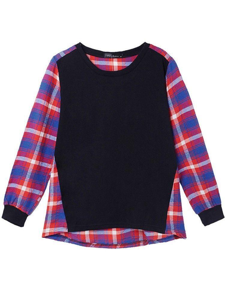 Women Plaid Patchwork Long Sleeve Shirt Loose Cotton Blouse
