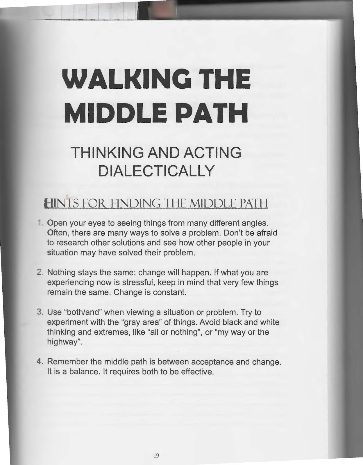 Dbt Walking The Middle Path The Art Of Dialectical