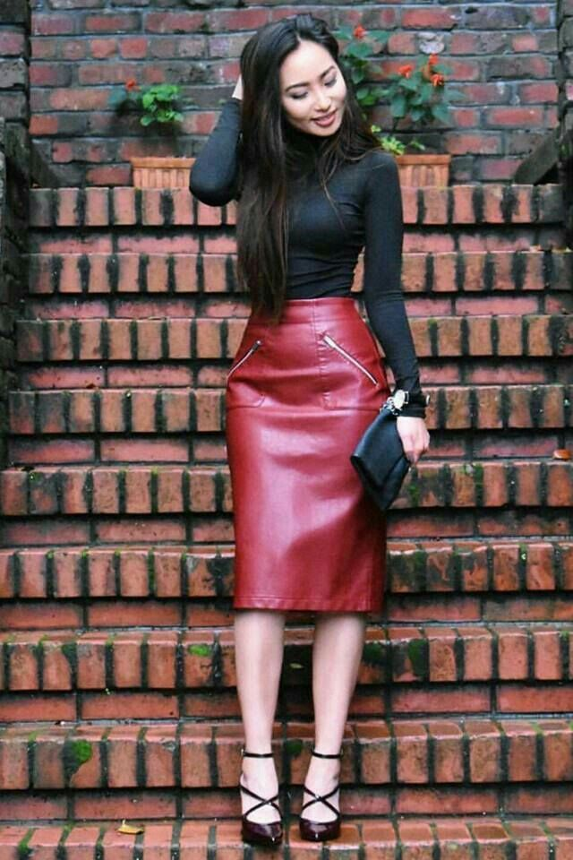 83960b641 Red leather pencil skirt and strappy heels | outfits | Red leather ...