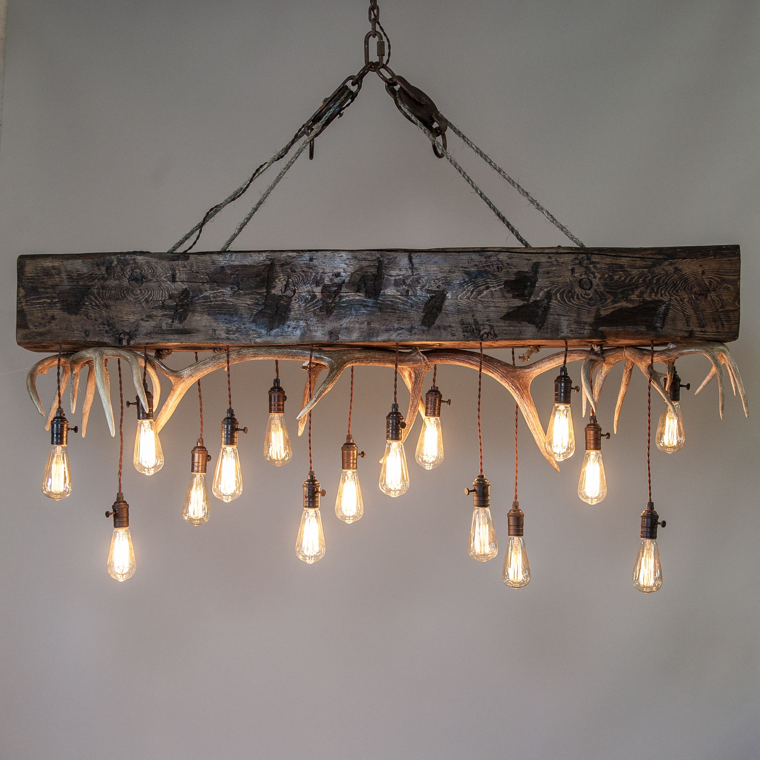 Shed antlers and a large finished timber as focal point in our new mountain modern timber chandelier designs with antler showcase your style with our antler chandeliers and custom made antler products arubaitofo Image collections