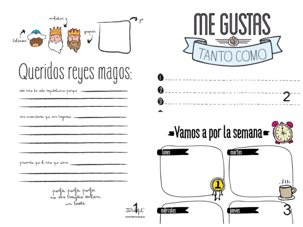 Mr wonderful 1 carta a los reyes magos 2 me gustas tanto for Plantillas mr wonderful
