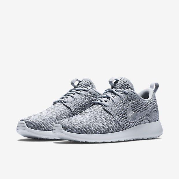 Womens Nike Roshe Flyknit Platinum/Grey/White Shoe