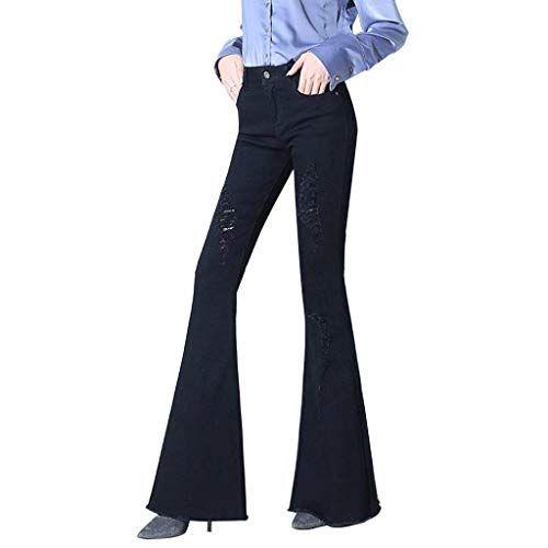 Pantalone A Trecce Jeans A Vita A Alta Jeans Grazioso in