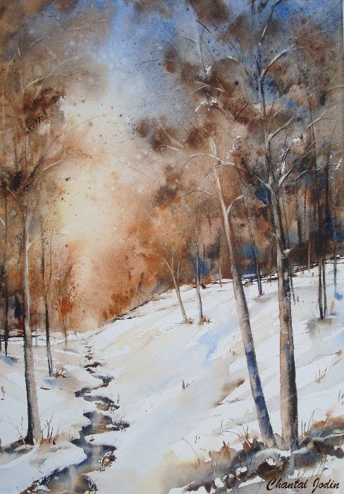 Chantal Jodin Watercolor Peinture Paysage Paysage Neige