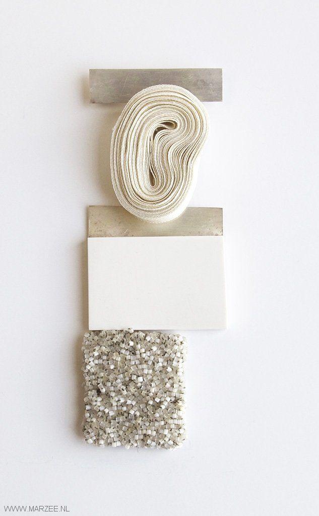 Helena Lehtinen - Gardens - brooch, 2011, silver, textile, glass beads, felt, reconstructed stone - 160 x 60 mm