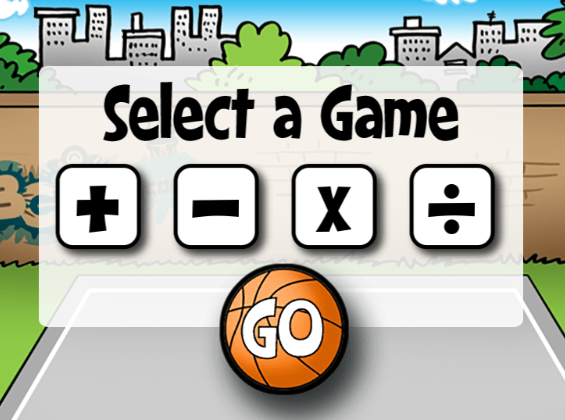 "This is an image from this resource on the Internet4Classrooms' ""Fourth Grade Interactive Math Skills - Multiple Operations"" resource page:    Math Facts Basketball.    Select a level and operation. Answer the problems correctly to earn basketball shots."