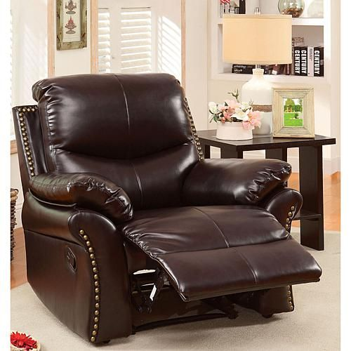 Superb Furniture Of America Gladdis Bonded Leather Recliner Bralicious Painted Fabric Chair Ideas Braliciousco