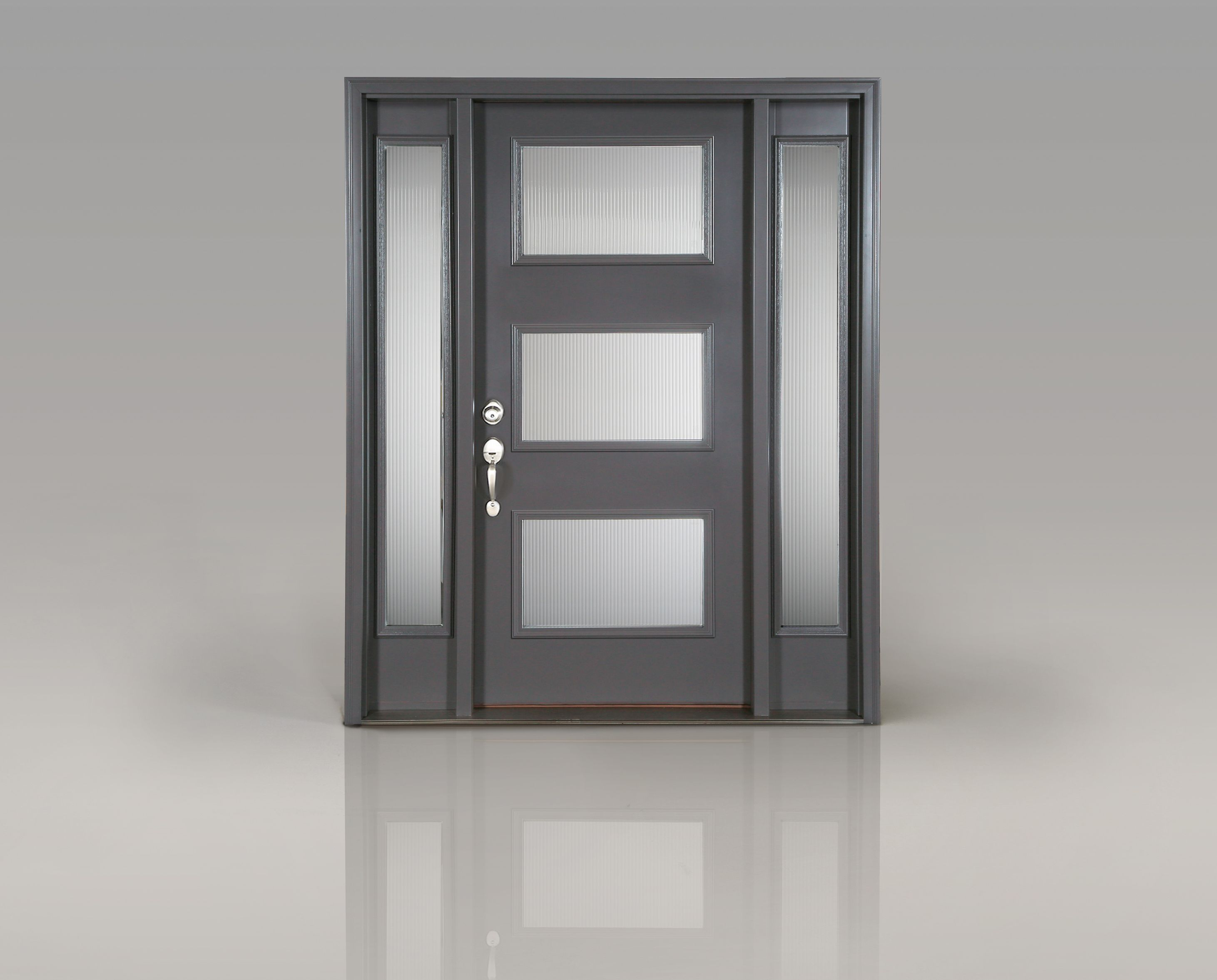 Create a modern entrance with clopay 39 s smooth fiberglass for Modern front doors