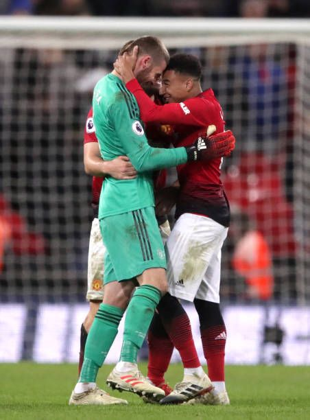 208aa6dd3bd Manchester United's Jesse Lingard celebrates victory with David de Gea  after the Premier League match at Wembley Stadium London