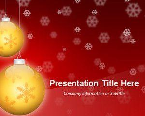 Widescreen Golden Balls Red PowerPoint Template (16:9