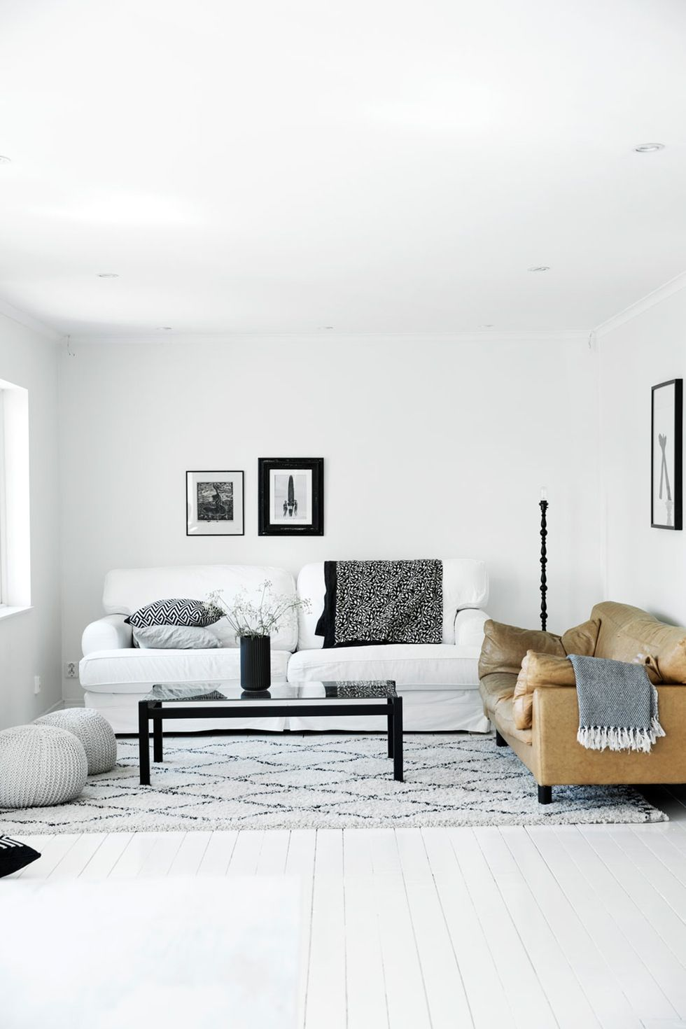 monochrome living room with a tan leather sofa great contrast! Emmas ...