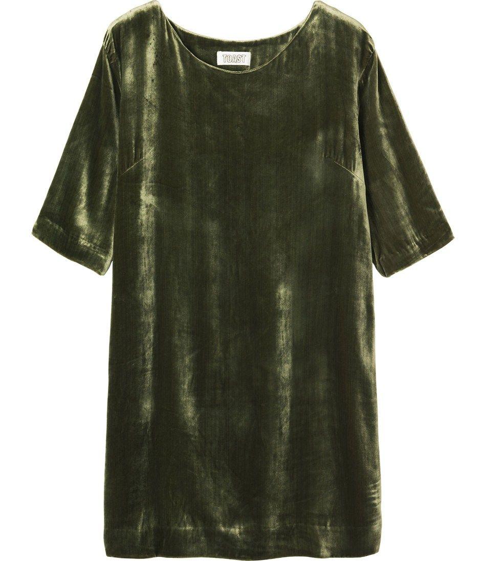 Green long sleeve cocktail dress  SILK VELVET DRESS  toast  clothesothesothes