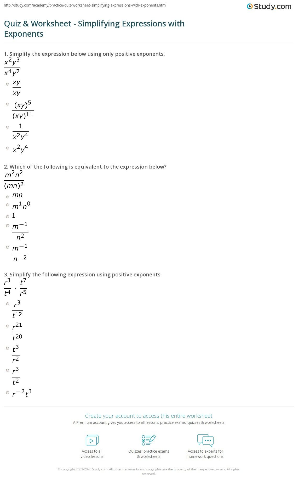 Simplifying Rational Exponents Worksheet In