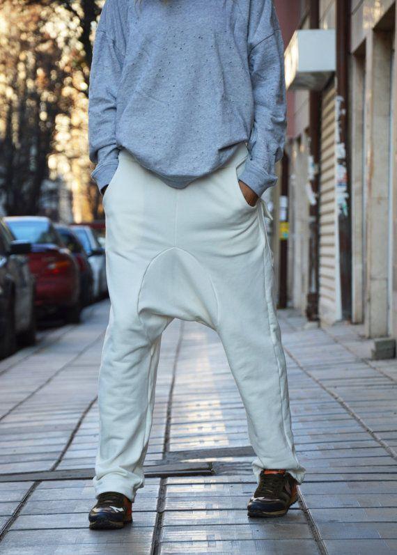d31c3e4dbe74f Autumn Off White Cotton Loose Harem Pants by SSDfashion on Etsy. Drop Crotch  ...
