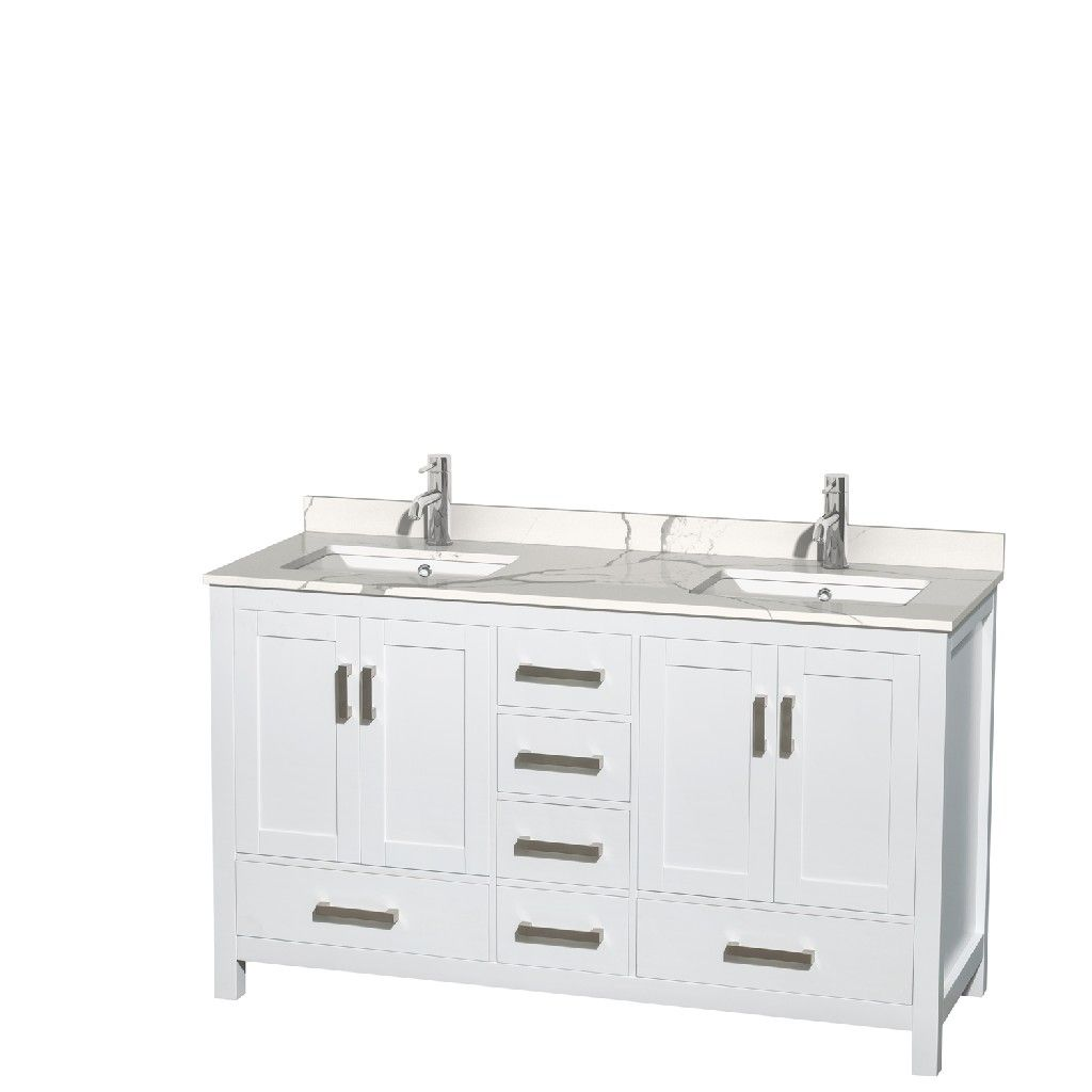 60 Inch Double Bathroom Vanity In White Calacatta Quartz