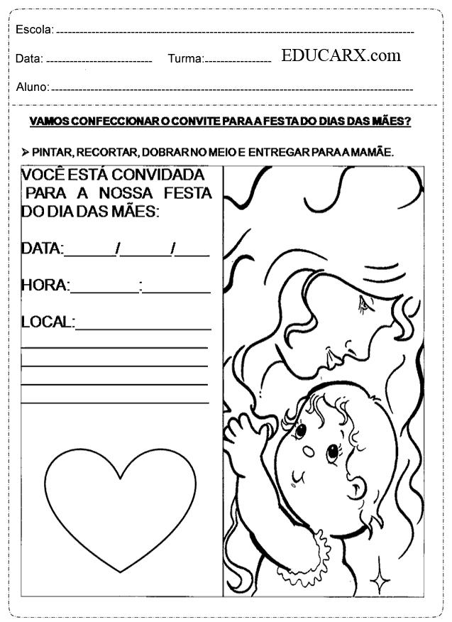 Vamos Confeccionar O Convite Para A Festa Do Dias Das Mães