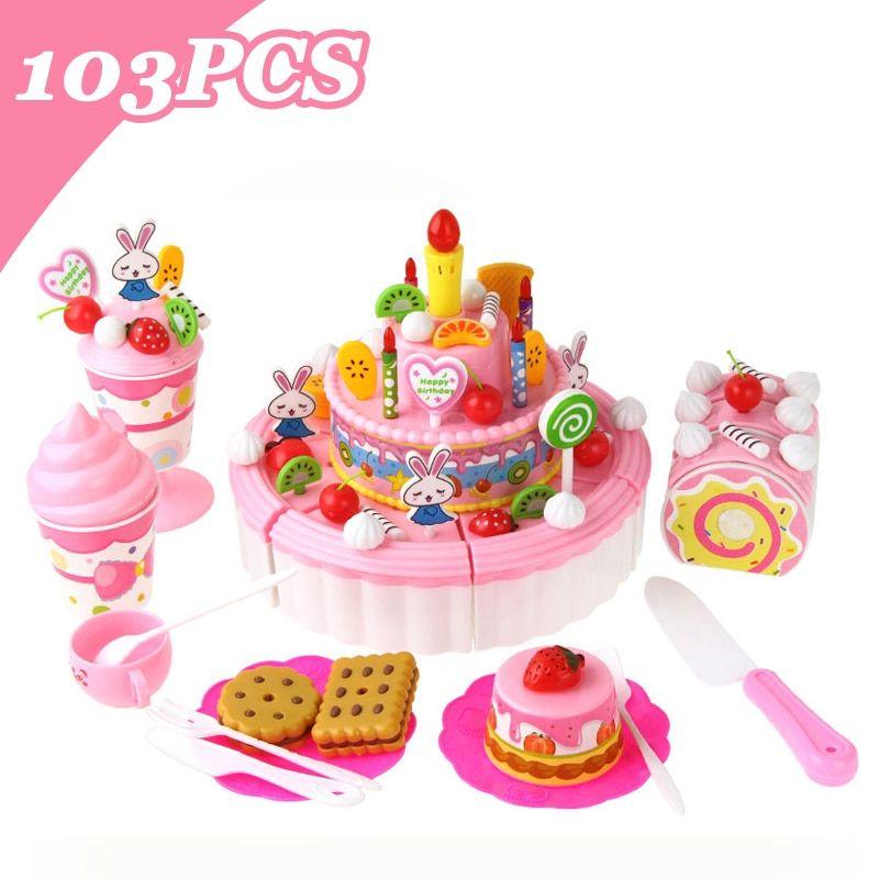 DIY Pretend Play Fruit Cutting Birthday Cake Kitchen Food Kids Girl Gift ToysPB