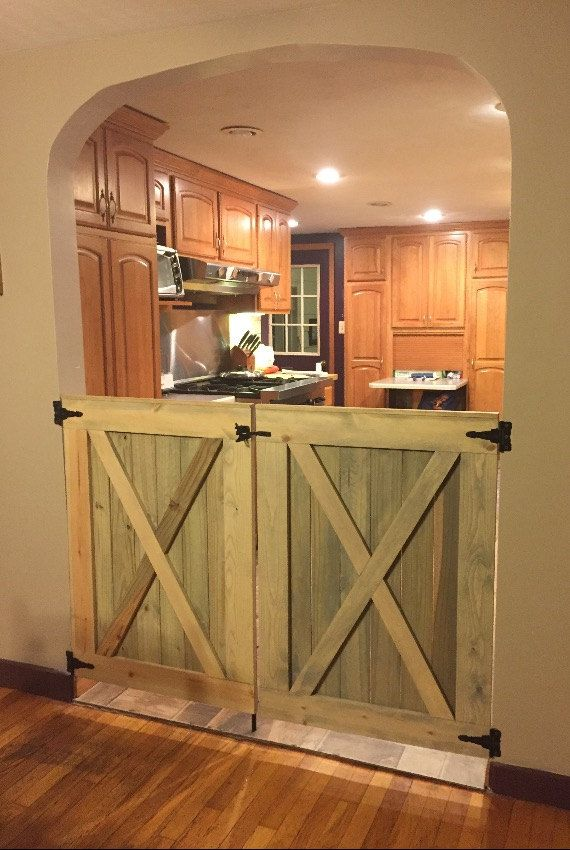 Double Door Rustic Barn Door Style Baby Dog Gate For