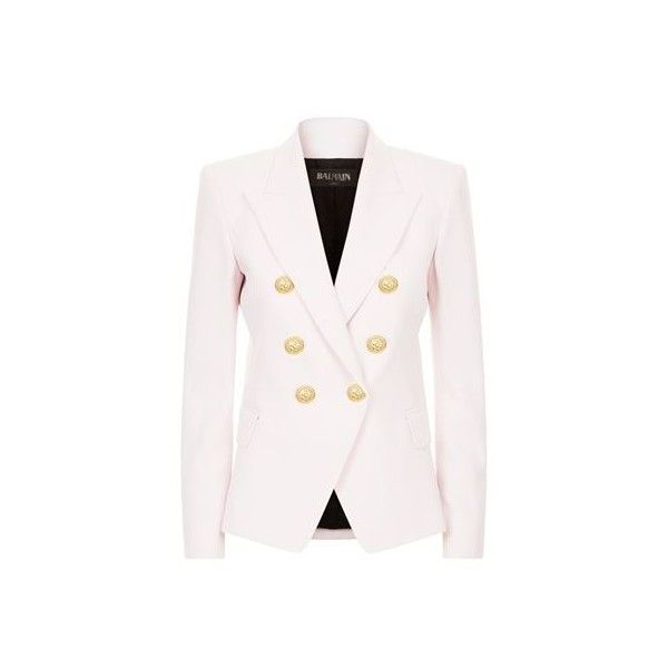 0ca23a55 Balmain Embossed Button Jacket (£1,475) ❤ liked on Polyvore featuring  outerwear, jackets, pink blazer jacket, balmain jacket, blazer jacket, button  jacket ...