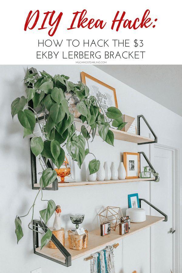 DIY EKBY LERBERG Bracket Ikea Hack + Master Bedroom Shelving images