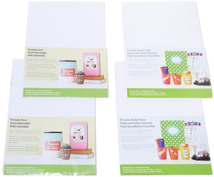 Cricut explore 44 piece printable sticker and vinyl sheet set vinyl sheets and products