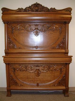 Circa 1890 Oak Carved Bed Antique Oak Furniture Antique Bedroom