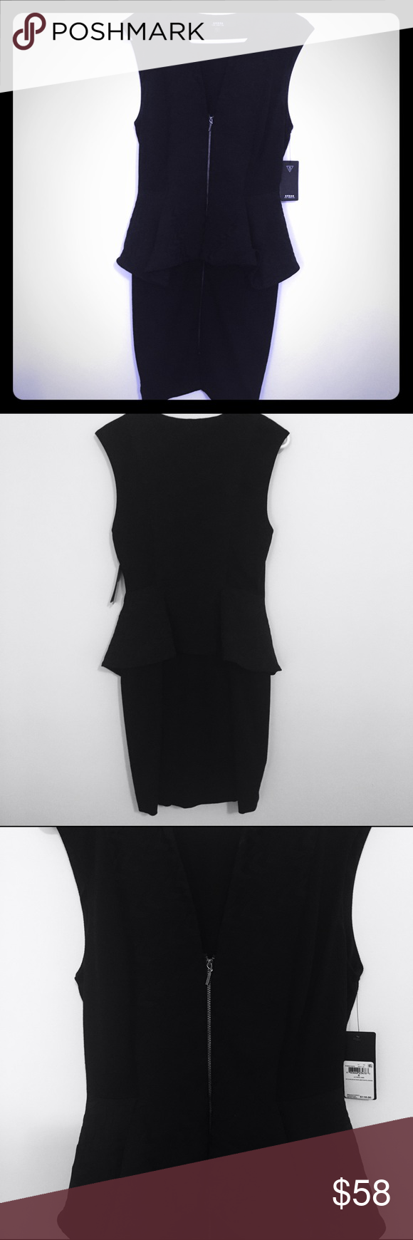 Guess front zip peplum black dress New with tags black dress. Peplum detail. Front zip the entire dress length. Some stretch. 60% Nylon 35% Polyester 5% Spandex. Guess Dresses