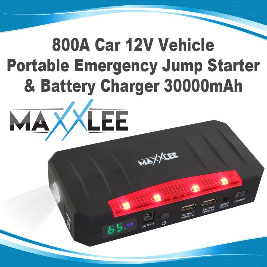 800a car 12v vehicle portable emergency jump starter battery charger 30000mah elinz