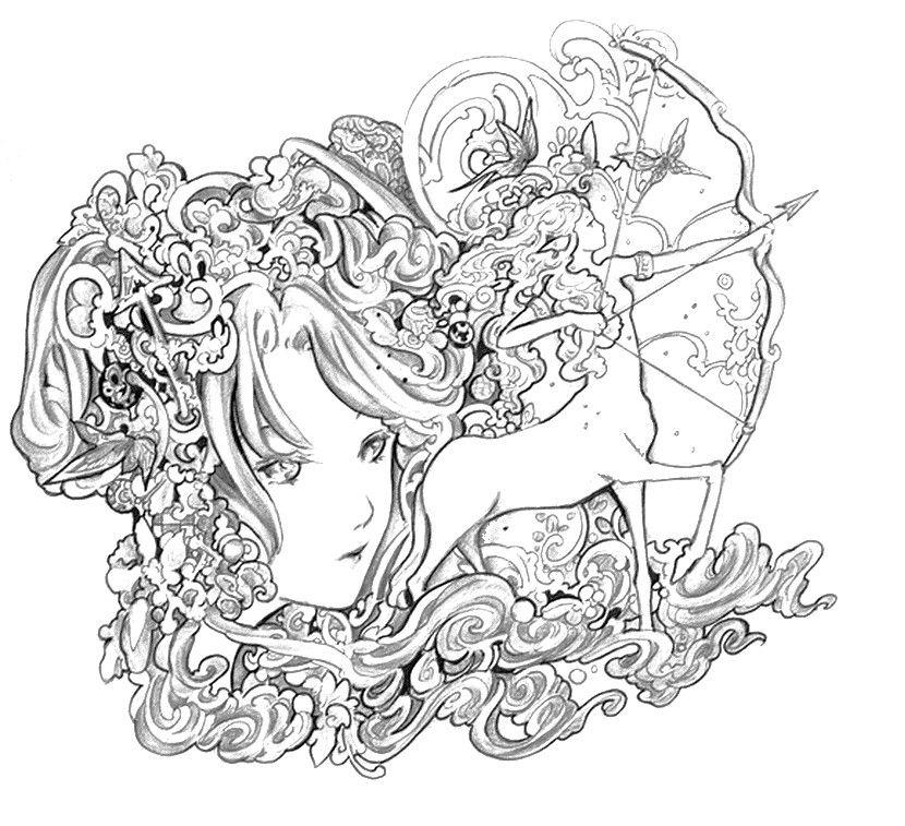 Sagittaire coloriages zen coloriage coloriage zen et - Coloriages adultes ...